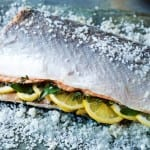 Salt-crusted whole salmon